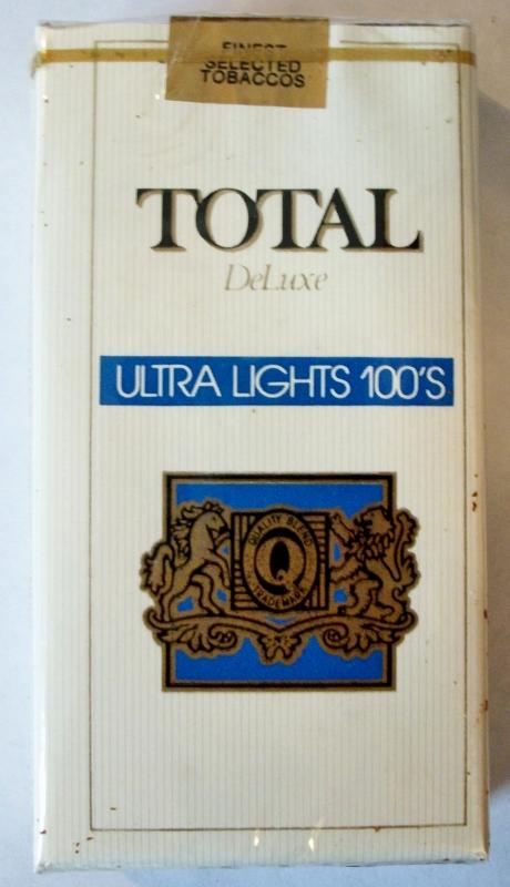 Total Deluxe Ultra Lights 100's - vintage American Cigarette Pack