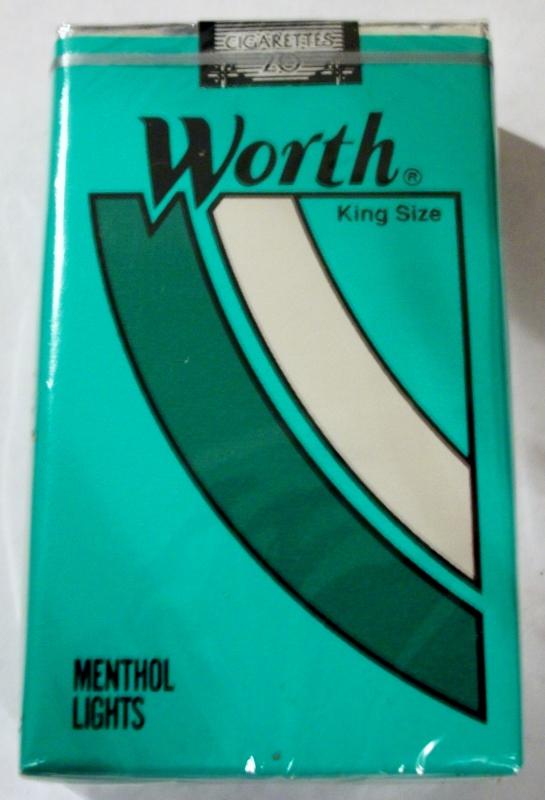 Worth Menthol Lights, King Size - vintage American Cigarette Pack