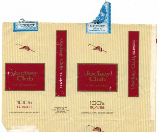 Jockey Club Filtro Especial 100's Suaves - vintage Argentinian Cigarette Pack
