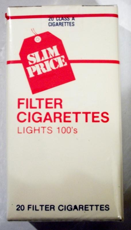 Slim Price Filter Lights 100's - vintage American Cigarette Pack
