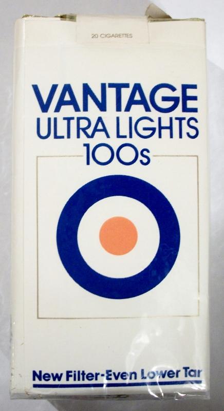 Vantage Ultra Lights 100's (new filter) - vintage American Cigarette Pack