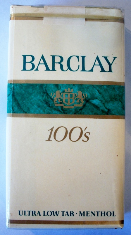 Barclay 100's ultra low tar menthol - vintage American Cigarette Pack
