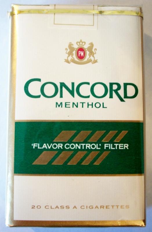 Concord Menthol 'Flavor Control' Filter - vintage American Cigarette Pack