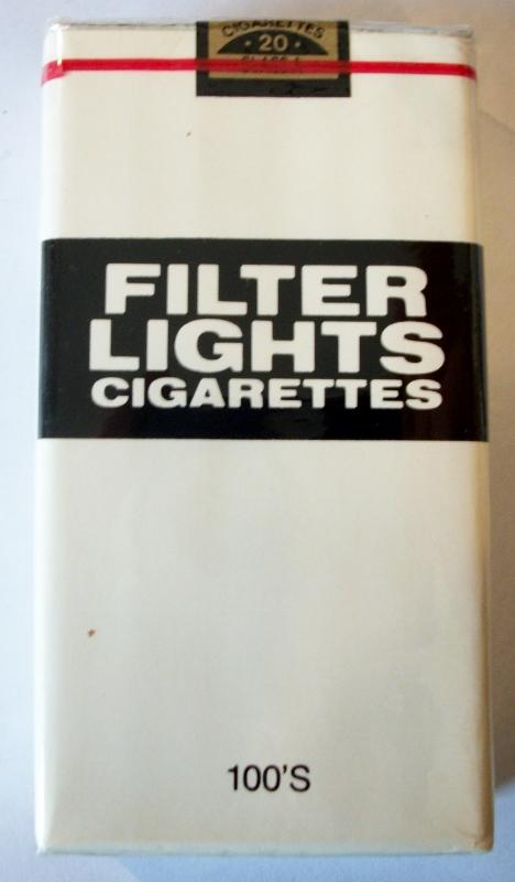 Filter Lights Cigarettes 100's - vintage American Cigarette Pack