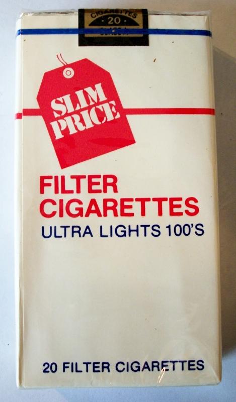 Slim Price Filter Ultra Lights 100's - vintage American Cigarette Pack