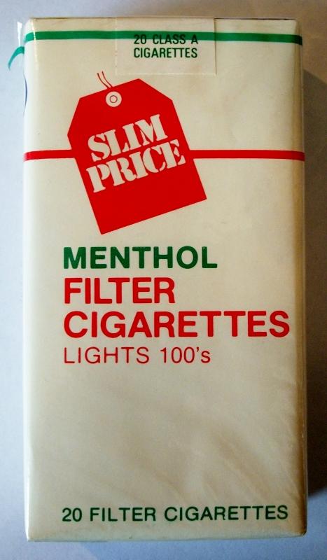 Slim Price Menthol Filter Lights 100's - vintage American Cigarette Pack