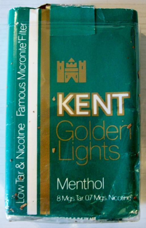 Kent Golden Lights Menthol, Micronite Filter - vintage American Cigarette Pack