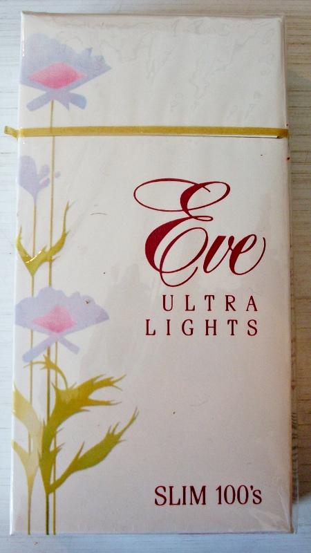 Eve Ultra Lights Slim 100s box - vintage American Cigarette Pack