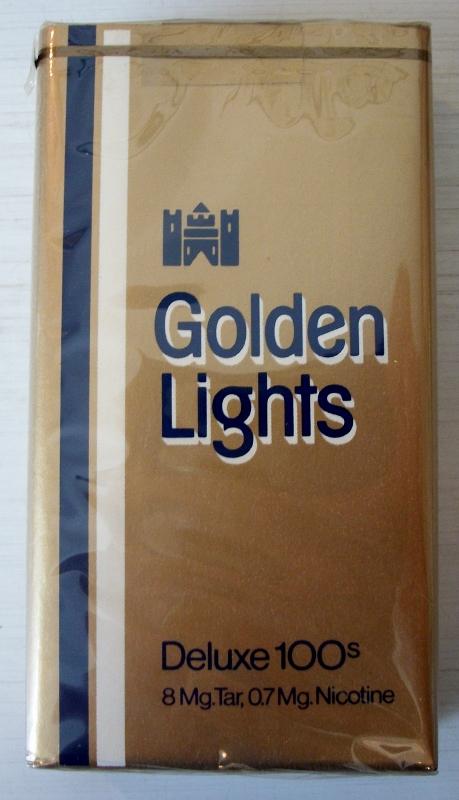 Golden Lights Deluxe 100s - vintage American Cigarette Pack