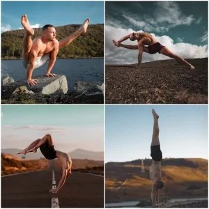 Man wearing shorts doing yoga in different outdoor locations