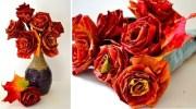 Виготовляємо трояндочки із кленових листочків. Майстер-клас
