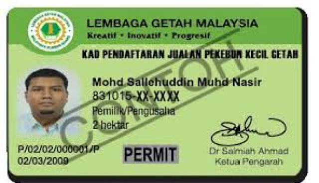 Contoh Kad Pat-G di keluarkan Oleh Lembaga Getah Malaysia   Permohonan BKKH 2016