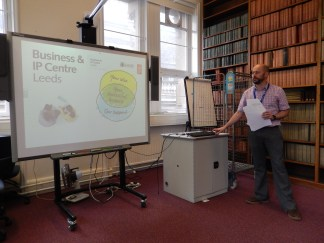 Ben Cleverly presenting the work of the Business and IP centre