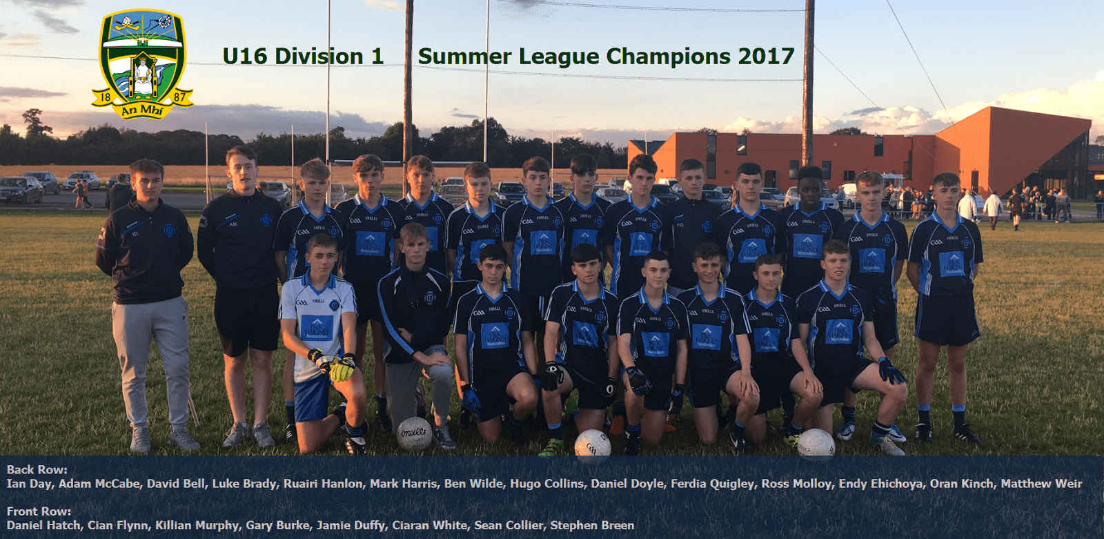 U16 Div 1 summer league champions