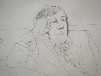 "David Hockney, ""Man on sofa"", encre sur papier, 32x32,5 cm, galerie Lelong & Co"