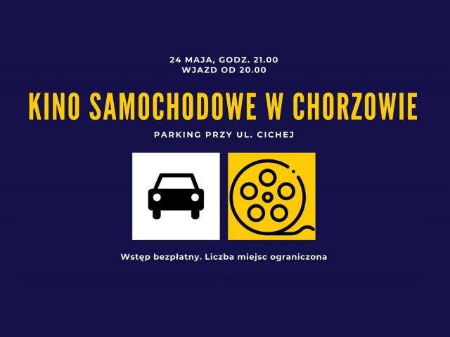 Grafika zapowiadają kino samochodowe w Chorzowie
