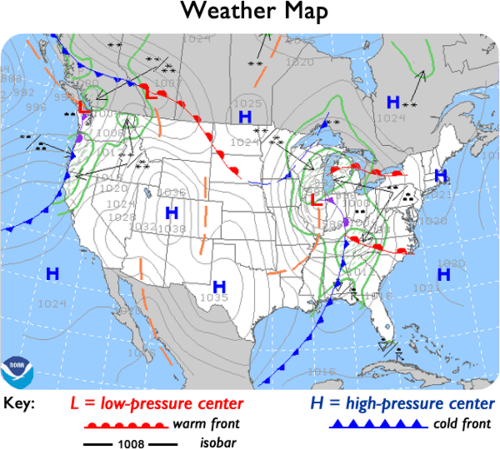 Cold Front On Weather Map.1 3 2 More On Weather Maps Science Town