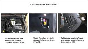 MercedesBenz CClass w204 Fuse Diagrams and Commonly