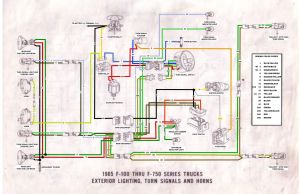65 F100 thru F750 exterior wiring diagram  Ford Truck