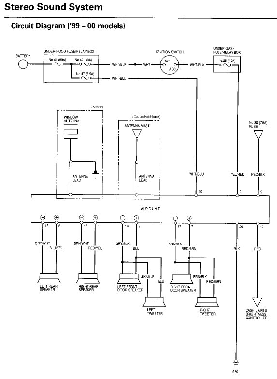 99 00 Civic Oem Radio Wiring Diagram