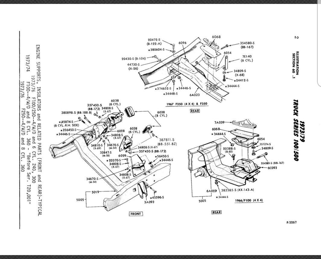 F250 351 To 460 Rear Engine Transmission Mount