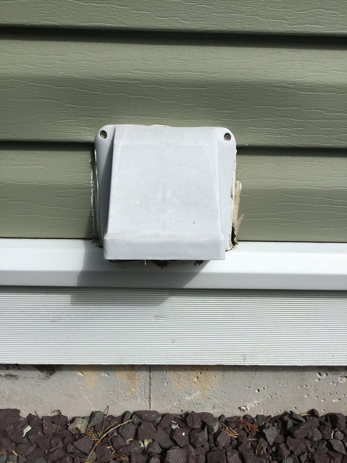 water around dryer vent vinyl siding
