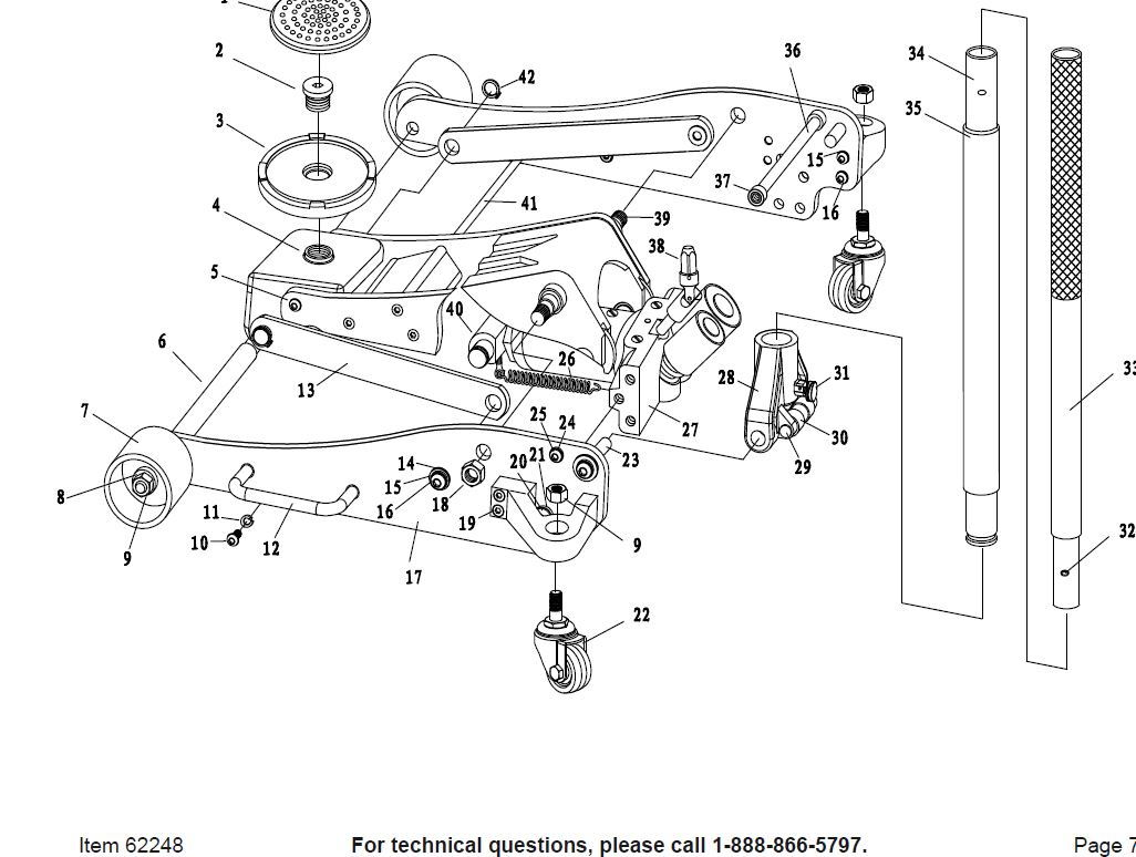 Torin 20 Ton Jack Parts Diagram