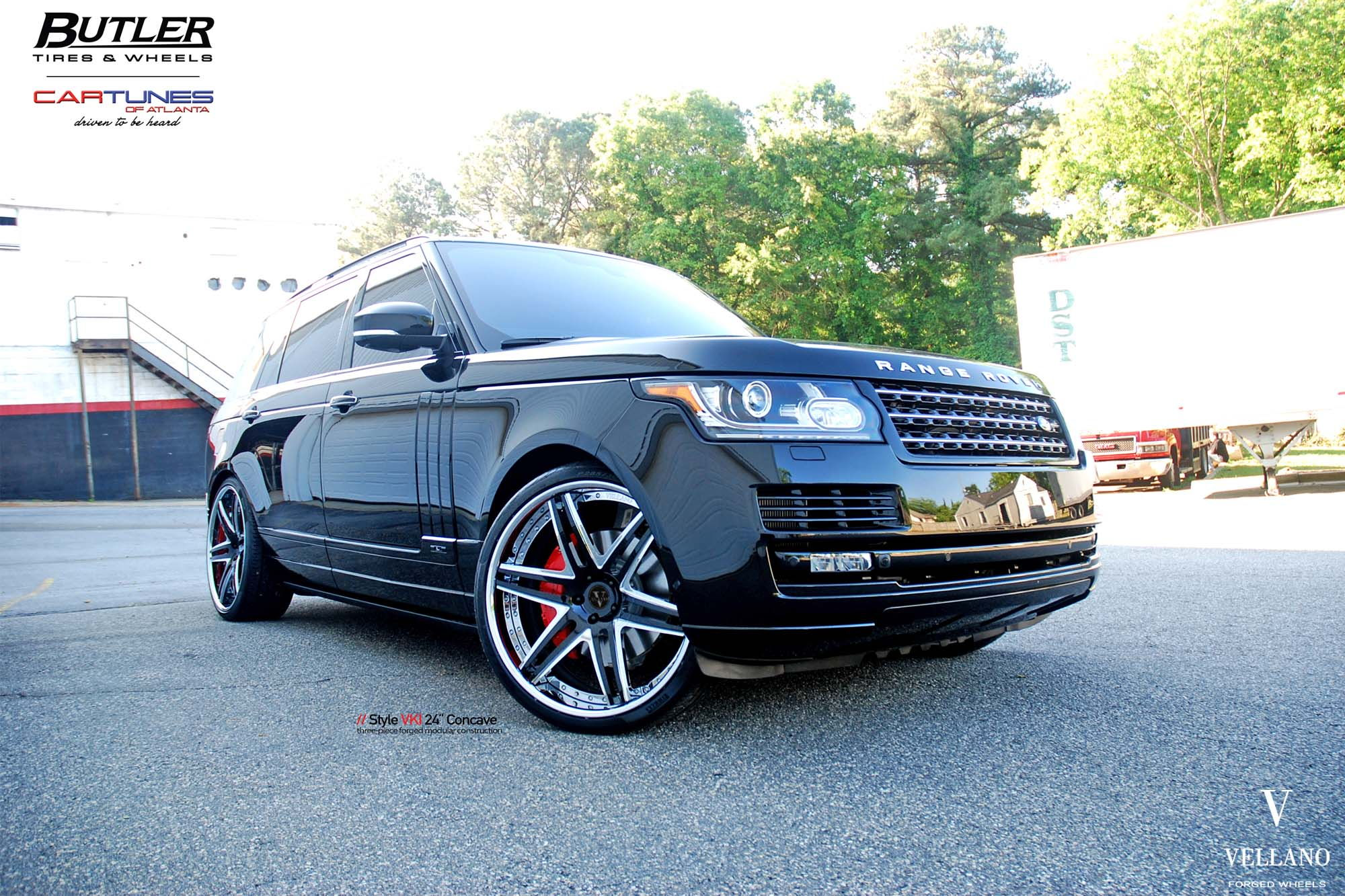 """Range Rover with 24"""" VELLANO VKI Forged Concave with heels deep"""