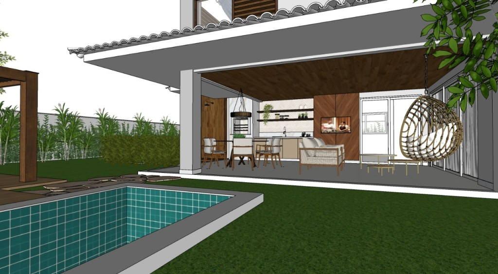 Casa iniciada em Alphaville: uma casa a pedido, siendo volumetrica estilo americana, enfocada na natureza e a area de lazer