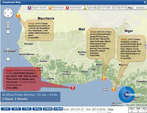 Latest piracy incidents in the Gulf of Guinea (courtesy OCEANUSlive.org)