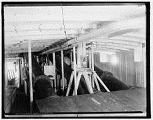The three dynamite guns below deck on Vesuvius