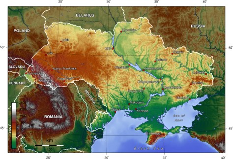 Relief Map of Ukraine. Map Credit: Wikimedia Commons