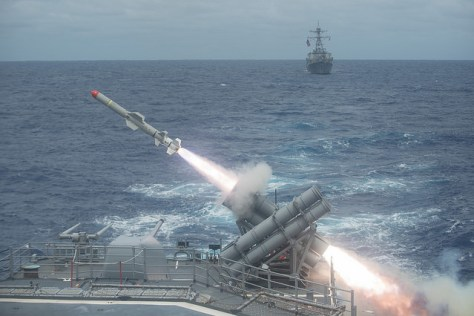 Harpoon anti-ship missile is launched from the Ticonderoga-class guided-missile cruiser USS Shiloh (CG 67) during a live-fire exercise. Image Credit: CC BY 2.0 Official U.S. Navy Page/Flickr.