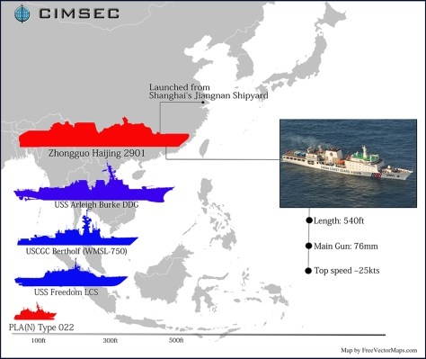 The New Chinese Coast Guard Mega-Cutter/FreeVectorMaps.com