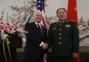 U.S. Secretary of Defense Robert Gates, left, and China's Minister of National Defense Gen. Liang Guanglie in Beijing, AP Photo.