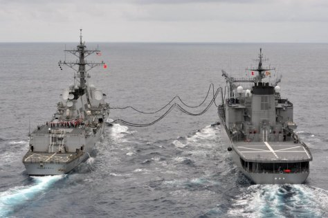The guided missile destroyer USS McCampbell (DDG 85), left, conducts a replenishment at sea with Japan Maritime Self-Defense Force fast-combat support ship JS Hamana (AOE 424) during Pacific Bond 2012 June 7, 2012, in the East China Sea. Pacific Bond is a U.S. Navy, Royal Australian Navy and Japan Maritime Self-Defense Force maritime exercise designed to improve interoperability and further relations between the nations. (U.S. Navy photo by Mass Communication Specialist Seaman Declan Barnes/Released)