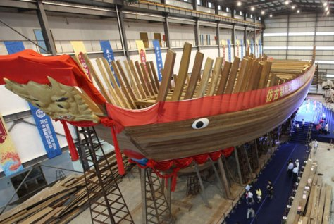 Replica of one of Admiral Zheng He's treasure ships, built in 2014. As China turns to the sea, she is stressing his figure.