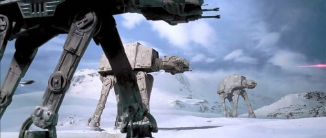 Imperial Walkers deploying in line, entering the engagement area on Hoth (Lucasfilm, Ltd)