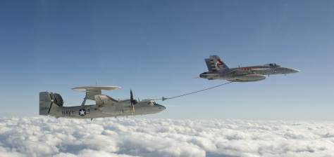 E-2D Advanced Hawkeye flown by Test and Evaluation Squadron TWENTY demonstrating proof of concept of in flight refueling. Photo taken by Kelly Schindler (US Navy).