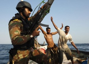 The Indian Navy conducting counter-piracy operations in the Gulf of Aden