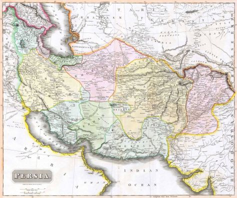 1814 map of Central Asia, where great power competition between Russia and the British became known as The Great Game.