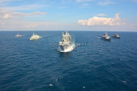 Standing NATO Maritime Group 2, seen here steaming in formation, is currently tasked with operating on the Aegan Sea refugee route. (NATO)