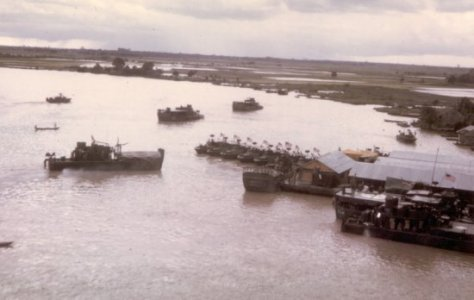 Riverine craft moored at Naval Support Activity Dong Tam in 1968. (Norman Belanger via Cantho-RVN.org)