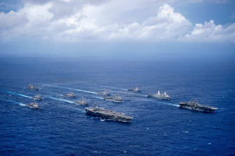 160920-N-NT265-725 PHILIPPINE SEA (Sept. 23, 2016) USS Ronald Reagan (CVN 76) and USS Bonhomme Richard (LHD 6) lead a formation of Carrier Strike Group Five and Expeditionary Strike Group Seven ships including, USS Momsen (DDG 92), USS Chancellorsville (CG 62), USS Stethem (DDG 63), USS Benfold (DDG 65), USS Curtis Wilbur (DDG 54), USS Germantown (LSD 42), USS Barry (DDG 52), USS Green Bay (LPD 20), USS McCampbell (DDG 85), as wells as USNS Walter S. Diehl (T-AO 193) during a photo exercise to signify the completion of Valiant Shield 2016. Valiant Shield is a biennial, U.S. only, field-training exercise with a focus on integration of joint training among U.S. forces. This is the sixth exercise in the Valiant Shield series that began in 2006. (U.S. Navy photo by Mass Communication Specialist 2nd Class Christian Senyk/Released)