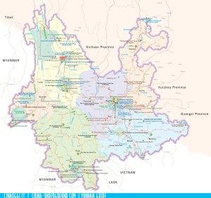 mappa turistica Yunnan