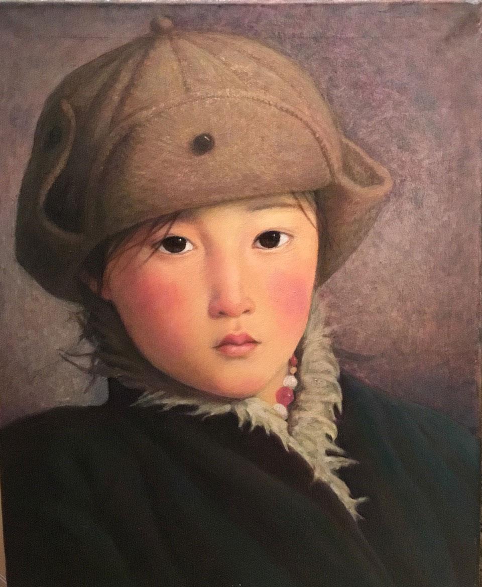 Mongolian Girl Series No.33, oil on linen, 50 x 40 cm, 2018, Karin Weber Gallery