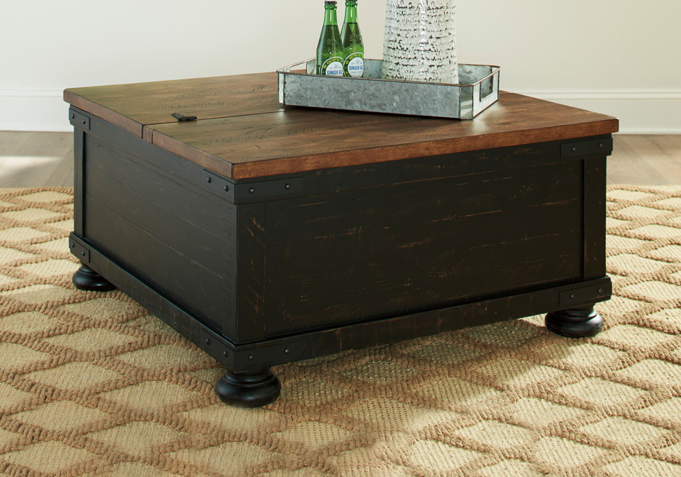 valebeck black brown square lift top cocktail table
