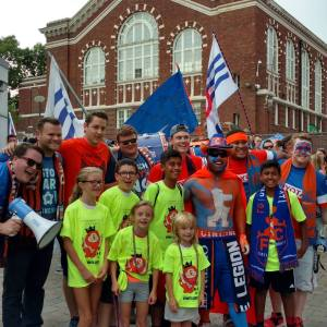 SGFK children with members of FC Cincinnati supporters groups before the Rochester match.
