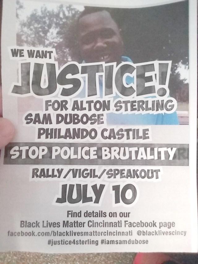 Black Lives Matter flyer Photo: Dr. Mark Mussman