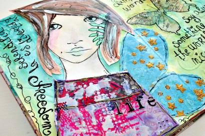 tutorial inspiración Karen O'Brien - página mixedmedia artjournal 19